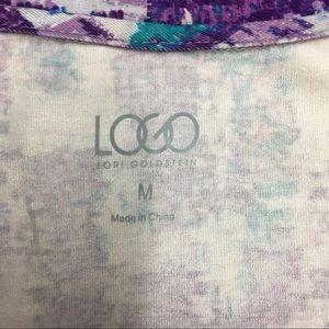 LOGO by Lori Goldstein Tops - LOGO By Lori Goldstein Cardigan Purple Print